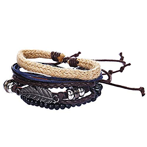 77Fine Hemp Leaf Wood Bead Bracelet Leather Boho Wrap Bracelets Braided Handmade Adjustable 4 Sets Cuff for Men Women