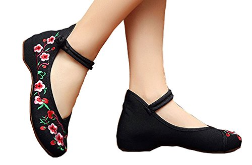 AvaCostume Embroidery Womens Classics Flats Rubber Sole Casual Shoes, Black3 39 (Mary Costume For Women)