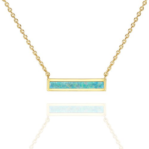 (PAVOI 14K Gold Plated Thin Bar Green Opal Necklace 16-18