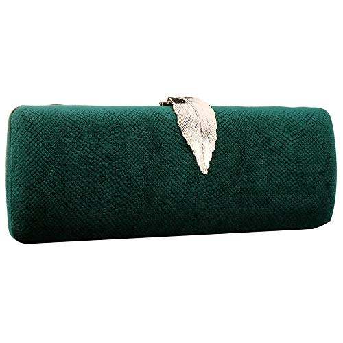 Luxury Rhinestone Satin Pleated Evening Wedding Party Clutch Purse Wallet Handbag (Dark green)