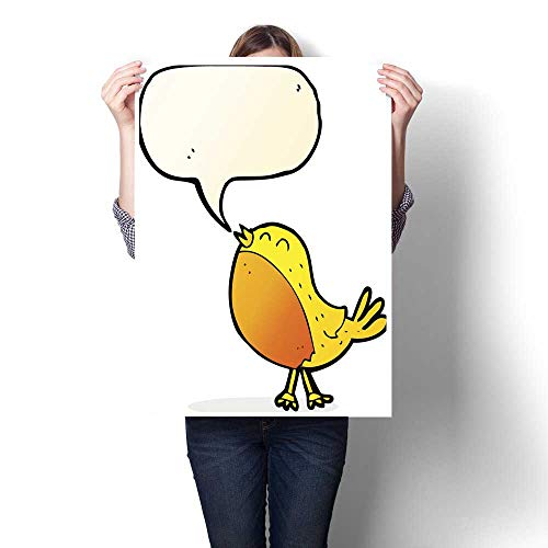 homehot Digitally Printed Cartoon Singing Bird with Speech Bubble Decorative Fine Art Canvas Print Poster K 32