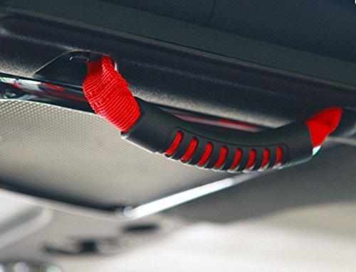 Opar Windshield Pillar Rear Side Grab Handle for 2007-2018 Jeep JK Wranger Unlimited 4-Door (Red,Pack of 2)