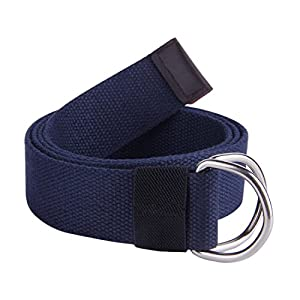 "JINIU Canvas Belt Military Style D RING Buckle solid color 1.5"" wide CAB2 NAVY 55""Long"