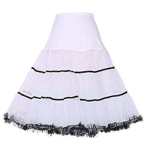 Facent Femmes Jupon Femme sous Robe Longue  Cheville Petticoat en Tulle Longueur 65cm Blanc/Noir