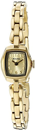 Bulova Women's 97L155 Analog Display Quartz Gold (Mini Ladies Jewelry Watch)
