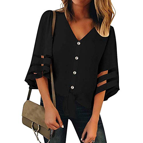QIQIU Women Sexy Summer V-Neck 3/4 Bell Sleeve Off Shoulder Hollow Out Loose Top Panel Button Blouse Shirt Black
