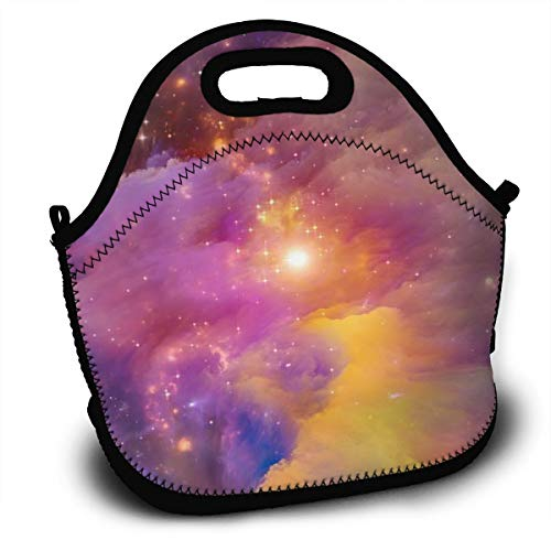 Dejup Lunch Bag Aurora Rainbow Star Tote Reusable Insulated Lunchbox, Shoulder Strap with Zipper for Kids, Boys, Girls, Women and Men -