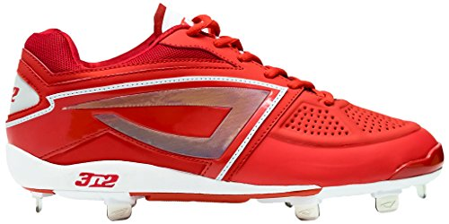 3N2 Women's Dom-N-8 Metal Cleat, Red, Size 7 by 3N2