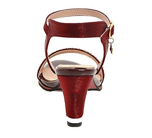Boucle D'orteil Serte À Sandales Talon Correct Ouverture Femme Aalardom Rouge tsflh005888 0aUSXq4wOU