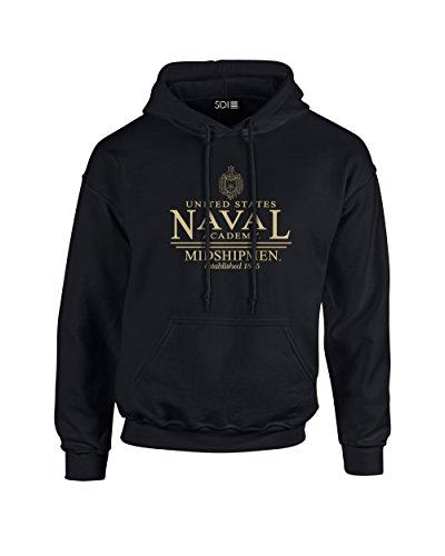 NCAA Navy Midshipmen Classic Seal Long Sleeve Hoodie, Small, Black