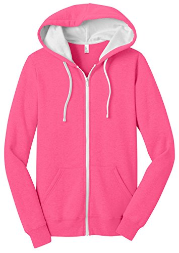 (District Women's The Concert Fleece Full Zip Hoodie XL Neon Pink)
