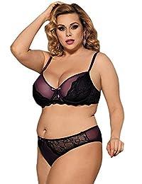 RwalkinZ Women Plus Size Bra Panty Two Pieces Bedchamber Sexy Lingerie (M-4XL)