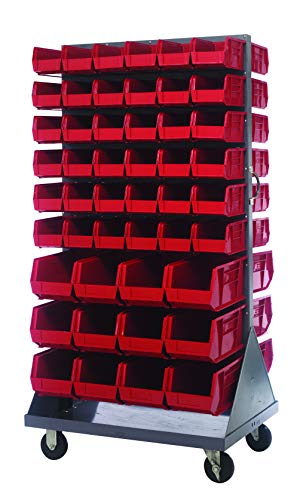 (Quantum Storage QMD-36H-230240RD Mobile Double Sided Gray Louvered Rack System with Bins, 36
