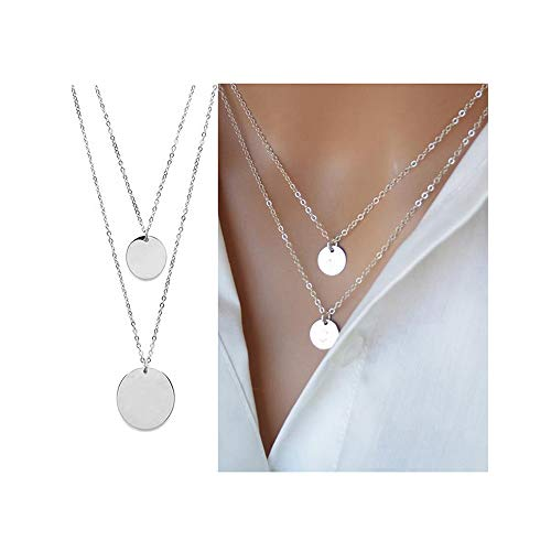 CHOA Dainty 2 Layered Necklaces, Long Lariat Y Pendant Necklace for Women Girls (R:Silver 2 Circle)