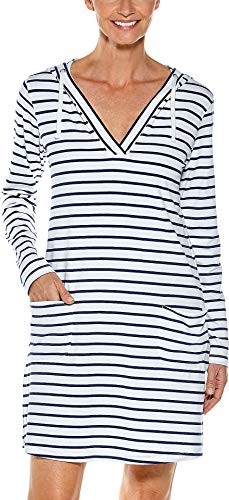 - Coolibar UPF 50+ Women's Beach Cover-Up Dress - Sun Protective (Medium- Navy/White Stripe)
