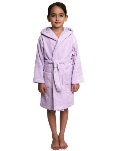 Girls Terry Cloth Robes - TowelSelections Big Girls' Robe, Kids Hooded Cotton Terry Bathrobe Cover-up Size 12 Lavender