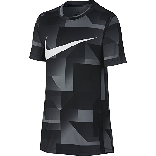 NIKE Boys Short Sleeve All Over Print Training Top, Black, Medium
