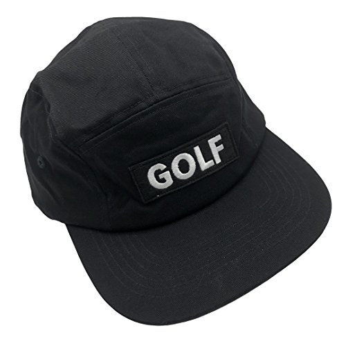 yameilin Golf 5 Panel Hat Baseball Cap Adjustable Snapback Snap Closure Unisex Black (Golf Twill Panel Cap Cotton)