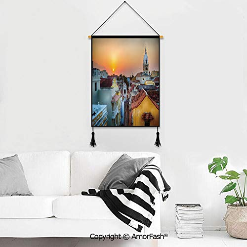 PUTIEN Tapestry Wall Art Hanging,Sunset for Home Living Room & Office Decor View Over The Rooftops of The Old City Cartagena Cathedral Colombian Coast Picture Decorative