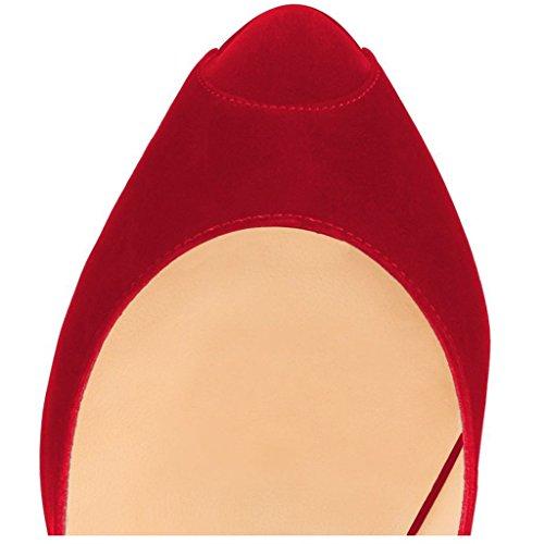 Mujer wildleder Zapatos Rot Rojo Tacón de EKS gfOtP
