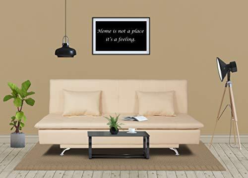 Adorn India Aspen Three Seater Sofa Cum Bed Single Tone Fabric (Beige)