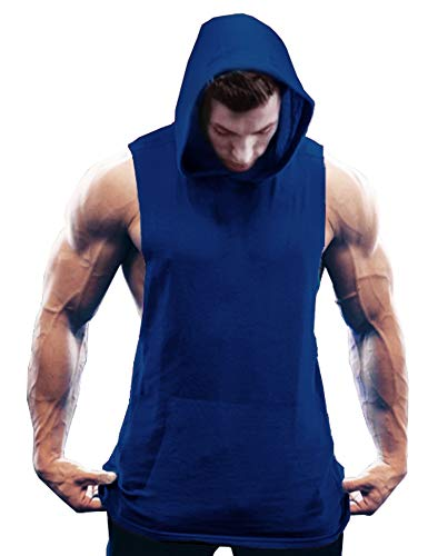 COOFANDY Men's Workout Hooded Tank Tops Bodybuilding Muscle Cut Off T Shirt Sleeveless Gym Hoodies (XX-Large, Blue3)