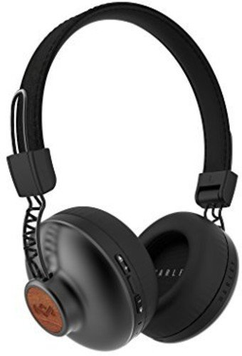 House of Marley, Positive Vibration 2 Wireless Headphones - Noise isolating In-Line 1-Button Mic on Cable, Removable Tangle-Free Cable, Long Battery Life, Foldable On-Ear Design, EM-JH133-SB Black by House of Marley