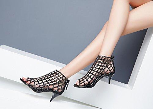 Donne Lizform Ritaglio Stivali Sandalo Sandali Stiletto Punta Aperta Schiena Dress Shoes Cerniera Tacchi Alti Stivali Black2