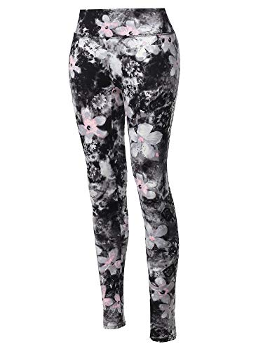 (High Waist Soft Brushed Floral Printed Yoga Pants Black Floral M )