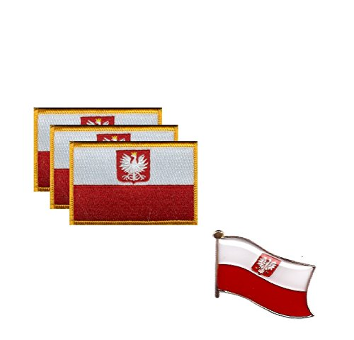 PACK of 6 Poland Eagle Flag Patches 3.50
