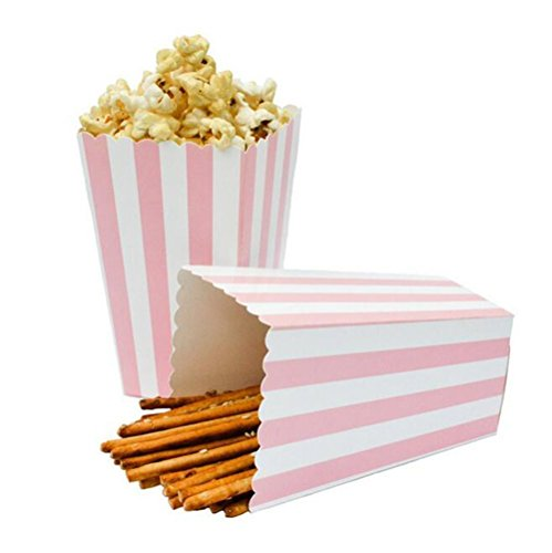 BinaryABC Popcorn Boxes,Stripe Pattern Decorative Dinnerware for Party,12 x 7CM,24pcs,Pink