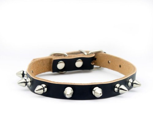 Namsan Black Puppy Dog Pet Doggie Cats One Row Spiked Leather Collars Necklaces -Extra Small