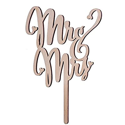 eBoot Mr and Mrs Cake Toppers Wooden Wedding Cake Topper Party Cake Decoration