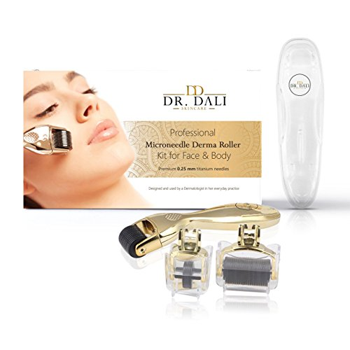 3-Piece Derma Roller Kit 0.25mm - Microneedle Face Roller for Massage, Depuffing, Serum and Cream Absorption – Helps Reduce Stretch Marks, Acne or Facial Wrinkles – BONUS 2 Extra Heads ()