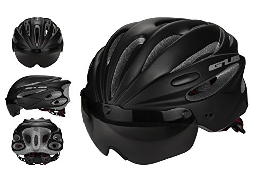 Ueasy Cycling Bike Helmet with Detachable Magnetic Visor Goggles Shield Comfortable Removable Washable Pads for Adult Men Women and Teen Boys Girls (Black) (Rider Q2 Bike)