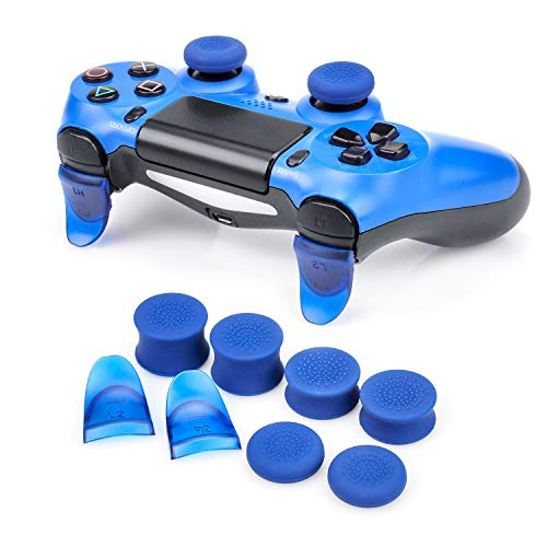 FPS Game Simulator Non Slip Assist Cap + L2 / R2 Trigger Accessory Compatible with PS4 Controller (Blue)