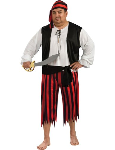 [Plus Size Pirate Man Costume - Mens Full (46-52)] (Full Pirate Costumes)