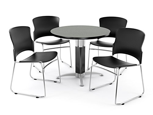 OFM Break Room Package – 36 Round Gray Nebula Table with 4 Black Seats PKG-BRK-027