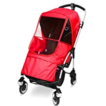 """[Manito] Bugaboo bee plus Elegance Cover / Cover for only """"Bugaboo bee plus"""" Stroller and Pushchair, Rain Cover, Wind Weather Shield for outdoor strolling, Eye Protective Wide Windows (Red)"""