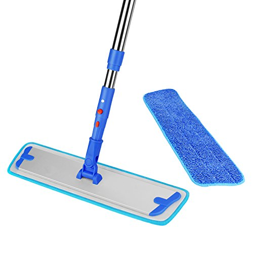 Flat Mop Floor Dust Mop Kit with 2 Microfiber Mop Pad Refill and 1 Non-slip Stainless Steel Extendable Handle for Cleaner Pet hair Dirt and Dust ITTAHO Flat Mop