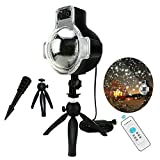 LED Snowfall Light Remote Control Christmas Snow Falling Night Projector Lights White Snowflake Flurries Rotating Spotlight Outdoor Indoor Landscape Decorative Lighting (Style B)