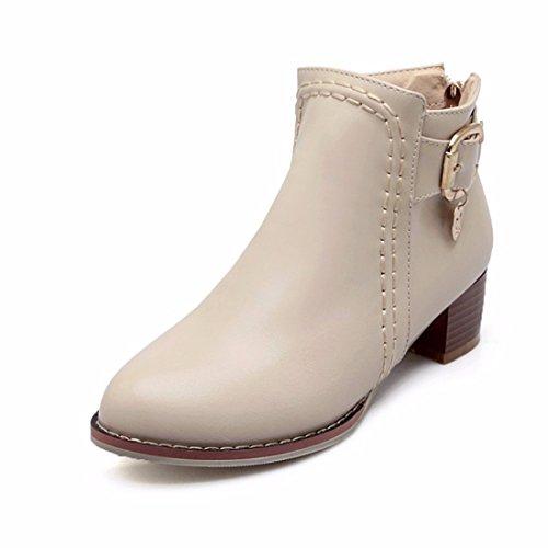 En el otoño y el invierno lady cinturón con botas botas tamaño Beige (Terry)