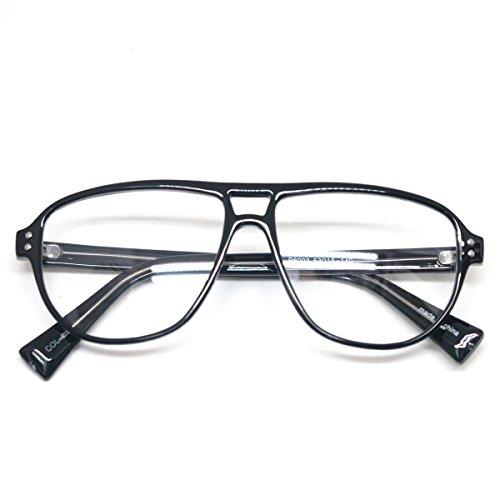 Vintage Inspired Eyewear Geek Clear Lens Horn Rimmed Fashion Nerd Eyeglasses (BLACK #E6003, clear)