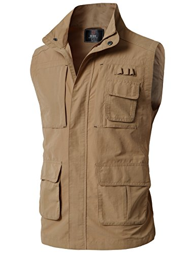 H2H Mens Lightweight Casual Work Utility Hunting Travels Sports Vest with Multiple Pockets Khaki US 3XL/Asia 4XL (KMOV0152)