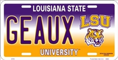 State University Tigers (NCAA University of LSU Louisiana State GEAUX Tigers Car License Plate Novelty Sign)