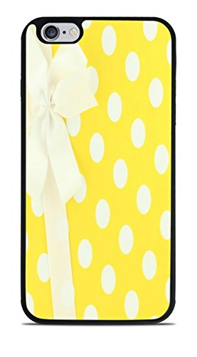 White and Yellow Polka Dots Wrapped Present With Bow Black Silicone Case for iPhone 6S+ (5.5) by Debbie's Designs