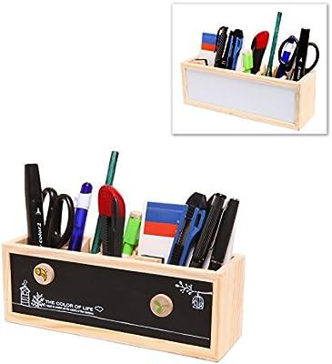 Wooden Desk Organizer / Pen Holder / Office Supplies Caddy With Dual Chalk  U0026 Dry Erase Message Boards   MyGift