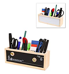 Wooden Desk Organizer / Pen Holder / Office Supplies Caddy with Dual Chalk & Dry Erase Message Boards - MyGift