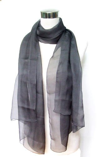 Chiffon Sheer Black 100% Silk Long Stole 44