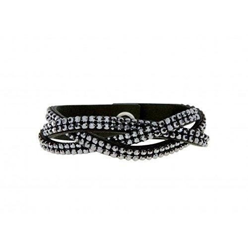 bracelet torsadé en alcantara noir avec swarovski noir